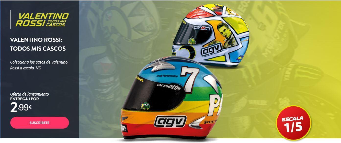 Coleccionable de los Cascos de Valentino Rossi, cascos AGV Valentino Rossi, cascos de moto en miniatura
